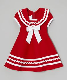 Look at this Gerson & Gerson Red & White Sailor Dress - Infant, Toddler & Girls by Gerson & Gerson Mayb a cmas dress? great use of rickrack This lightweight frock's zipper back makes changing as easy as an ocean breeze. I bet I can recreate this one. Little Girl Outfits, Cute Outfits For Kids, Little Girl Dresses, Toddler Girl Dresses, Toddler Outfits, Toddler Girls, Infant Toddler, Vestidos Color Rojo, Fashion Kids