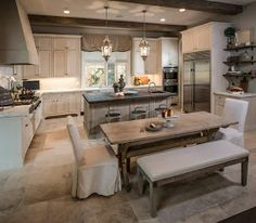 "This has to be one of my favorites French kitchen! Kitchen Cabinet Paint Color: ""Benjamin Moore Dove Wing The kitchen countertops are honed calacata marble and the island is ""Sable marble"" (french quarter). Floors are antique limestone. Kitchen Interior, New Kitchen, Kitchen Decor, Kitchen Dining, Kitchen Layout, Dining Rooms, Kitchen Floors, Cozy Kitchen, Island Kitchen"