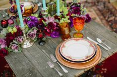 Boho Moroccan event styling #event #events #eventstyling #boho #Moroccan #bohemian #styling #tablesetting #tablescape #placesetting #flowers #candles #vintage #purple #burntorange #turquoise #red