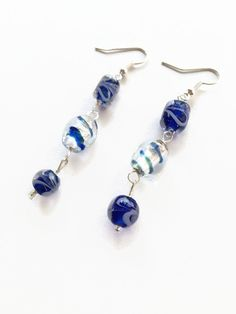 Blue Glass Swirl Bead Trio Earrings Blue Glass Earrings Blue Dangle Earrings Blue Glass Bead Earrings Blue Glass Bead Dangle Earrings (E225) by JulemiJewelry on Etsy