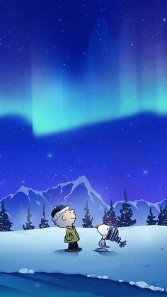 Snoopy winter aurora sky Art Print by Matthew MLal