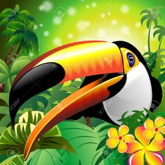 Buy Toucan Close Up on Green Jungle by Bluedarkat on GraphicRiver. Awesome, Colorful Toco Toucan Close Up on a Green Bright Tropical Jungle, with Flowers and Palm Trees. Tropical Birds, Colorful Birds, Animal Paintings, Animal Drawings, Close Up Art, Toco Toucan, Exotic Art, Bird Illustration, Jungle Animals