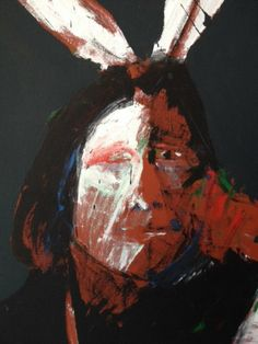 """Original Painting """"Untitled Portrait of an Indian 1970s"""" by Fritz Scholder"""