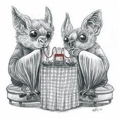 Every day is Halloween Baby Bats, Cute Bat, Creatures Of The Night, Creepy Cute, Gothic Art, Illustrations, Halloween Art, Amazing Art, Art Drawings