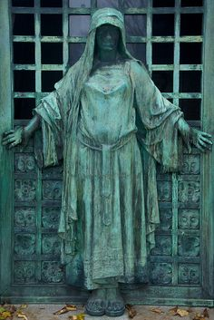 Tomb Door, Pere Lachaise Cemetery    Tomb Door with Figure, Pere Lachaise Cemetery, Paris