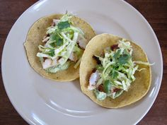 Grilled Cod Tacos with Citrus Slaw and Avocado Crema