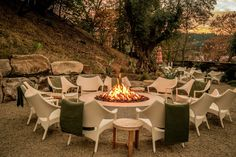 There are plenty of opportunities to sit fireside while wine-tasting, dining, or just reading that juicy romance novel you threw into your suitcase at. Tasting Room, Wine Tasting, Napa Restaurants, Large Fire Pit, Outdoor Furniture Sets, Outdoor Decor, Rustic Furniture, Modern Furniture, Spring Resort