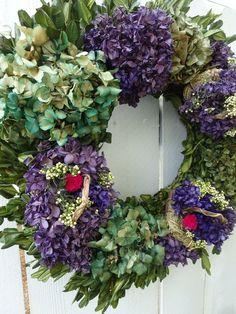Boxwood Wreath, Hydrangea Wreath, Floral Wreath, Wreaths For Front Door, Door Wreaths, Lavender Wreath, Wreath Forms, Easter Wreaths, Summer Wreath