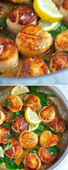 How to make restaurant-worthy scallops at home. These pan seared scallops with g.How to make restaurant-worthy scallops at home. These pan seared scallops with garlic basil butter take less than 10 minutes and taste incredible! Great Recipes, Favorite Recipes, Healthy Recipes, Recipes Dinner, Healthy Scallop Recipes, Garlic Recipes, Basil Recipes, Baked Scallops Recipe Healthy, Scallops And Rice Recipe