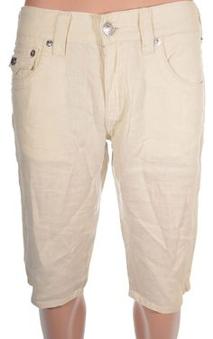 True Religion Mens Linen Shorts Size 31 Straight Cut Off with Flaps in Khaki NWT #TrueReligion #CasualShort