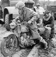 """""""Muddy roads seriously hindered Operation Veritable, which started 8 February British Army, Ww2, Motorcycles, Europe, Military, Roads, February, Models, Photos"""