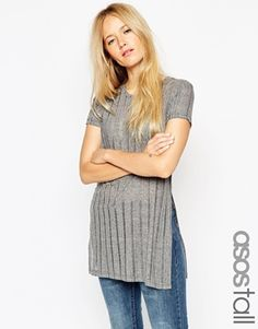 ASOS TALL Tunic with Split Sides in Laddered Fabric
