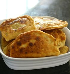 Chebureki (Russian Recipe) Airy dough filled with meat and pan fried. Yum