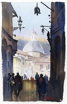 italian street; 2 by Thomas W. Schaller Watercolor ~ 15 inches x 10 inches