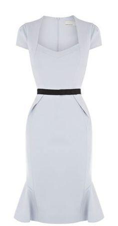 karen millen structured grey jersey dress with black belt
