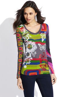"""DESIGUAL Croncho Long Sleeve Top.  I love my """"crazy girl"""" clothes."""
