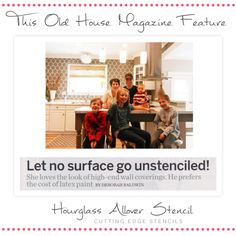 This Old House Magazine features the hourglass stencil by Cutting Edge Stencils! http://www.cuttingedgestencils.com/modern-stencil.html