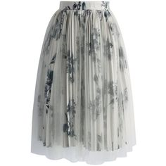Chicwish Rose Bouquet Pleated Tulle Skirt in Beige ($48) ❤ liked on Polyvore featuring skirts, beige, rose print skirt, tulle ballerina skirt, pattern skirt, knee length tulle skirt and tulle skirt