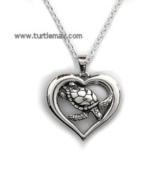 Sterling Sea Turtle in Heart Necklace