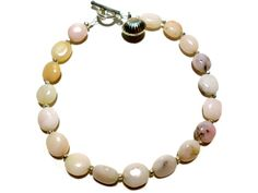 Pink Opal and Sterling Silver Bracelet  Hill Tribe by StaggsLane