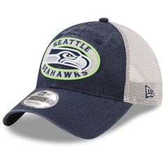 16e43a4166939 Men s Seattle Seahawks New Era College Navy Natural Patched Pride Trucker  9TWENTY Adjustable Hat