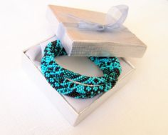 SALE - Beadwork - 3 Strand Bead Crochet Rope Bracelet in turquoise, teal and emerald - beaded jewelry - beaded bracelet