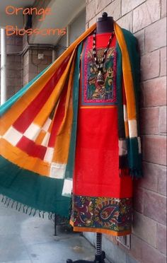Ikat dupatta teamed with a pen Kalamkari kurta available at www.facebook.com/orangeblossomwomensclothing