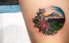 Floral mountain nature tattoo