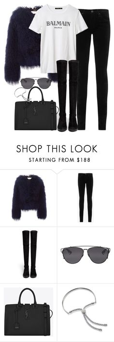 """""""Untitled #429"""" by allysa-bojador on Polyvore featuring Chloé, AG Adriano Goldschmied, Robert Clergerie, Christian Dior, Yves Saint Laurent and Monica Vinader"""