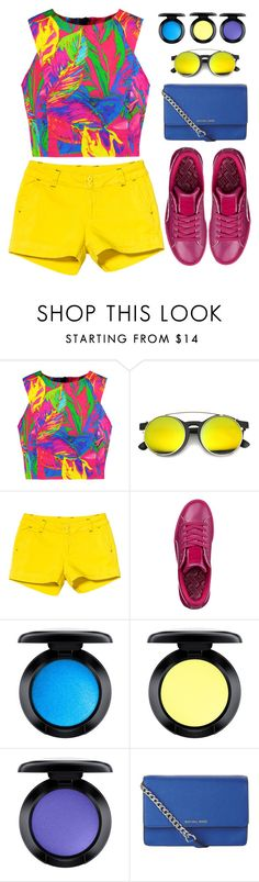 """""""Bright, So so bright"""" by gabygirafe ❤ liked on Polyvore featuring Milly, ZeroUV, Kavu, Puma, MAC Cosmetics and MICHAEL Michael Kors"""