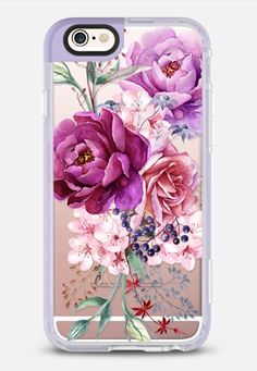 Casetify iPhone 7 Case and Other iPhone Covers - Purple Peony Watercolor Floral Bouquet iPhone 6s Case by Ruby Ridge Studios | #Casetify