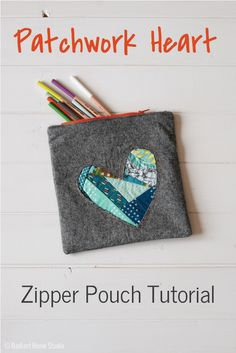 Patchwork Heart Zipper Pouch Tutorial | Radiant Home Studio -Valentine's Day craft sewing