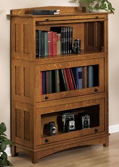 My great-grandmother had a bookcase like this, where there were doors that slid up into the bookcase. Love this!
