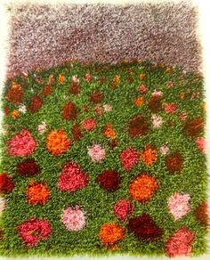 Rya Rug, Wool Rug, 70s Home Decor, Punch Needle Patterns, Green Carpet, Tapestry Weaving, Textile Art, Diy And Crafts, Embroidery