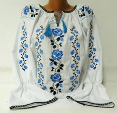 Romanian Peasant Ethnic Top Tunic Embroidered Blouse all custom sizes 100% linen or cotton