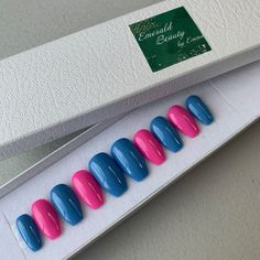 A set of blue and pink missed press on nails. Wood Sticks, Press On Nails, Nail File, Bubble Gum, You Nailed It, No Response, Bubbles, Alcohol, Messages