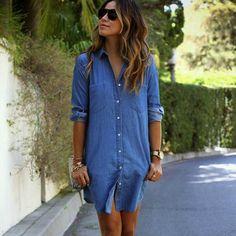 denim button down dress, long sleeve button down dress, casual trendy denim dress - Lyfie