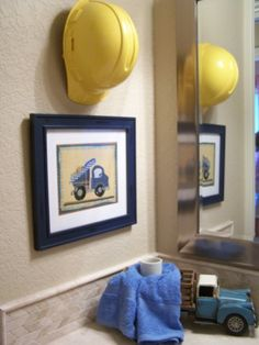 I think this is such a cute idea for a boys bathroom