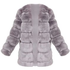 Grey Faux Fur Bubble Coat ($150) ❤ liked on Polyvore featuring outerwear, coats, gray faux fur coat, grey coat, grey faux fur coat, gray coats and bubble coat