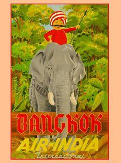 Bangkok Thailand Thai Air India Asia Asian Travel Advertisement Art Poster  #Vintage