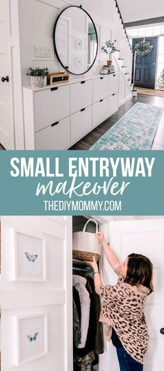 Do you have an awkward or narrow entry like we do? Come see how I gave our small entry a makeover with trim, organization ideas, an Ikea Stall shoe cabinet hack, and tons of hidden hallway storage. Ikea Hemnes Shoe Cabinet, Shoe Cabinet Entryway, Entryway Decor, Small Shoe Cabinet, Entrance Decor, Entryway Ideas, House Entrance, Ikea Hallway, Hallway Storage