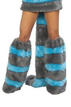 FURRY FLFFY FUR LEG WARMERS MULTI COLOUR DISCO RAVE ladies womens fancy dress