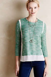 Anthropologie - Imogen Pullover I like the mixing of textures silk+knit