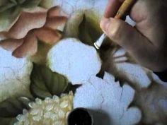Rosas hortênsias folhas fundo da pintura sombreado 2/6 - YouTube