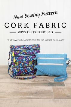 6d3b8e67d9b3 Pretty and practical zippy crossbody bags sewing pattern in two sizes! Each  bag features three zipper pockets