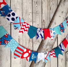 Seuss scrappy bunting flags for fun decor or party decor- Dr Seuss Flags on Etsy, $18.00