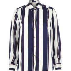 River Island Navy stripe long sleeve shirt ($50) ❤ liked on Polyvore featuring tops, river island, shirts, navy, women, blue striped shirt, blue stripe shirt, striped shirt, stripe shirt and striped top