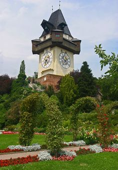 Graz - Uhrturm at the top of Schlossberg - dates back to the 13th century and was part of a fortress.