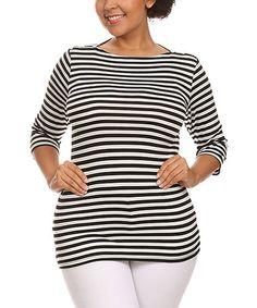 This Black & White Stripe Three-Quarter Sleeve Top - Plus is perfect! #zulilyfinds