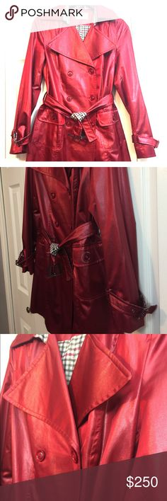 Leather Red Trench Coat with Scarf. Leather Red Trench Coat, lightly used, light weight, weather protects and reversible belt. Great color and Rare style. Size run from 8 to 10 Made in Turkey. Turkey Jackets & Coats Trench Coats